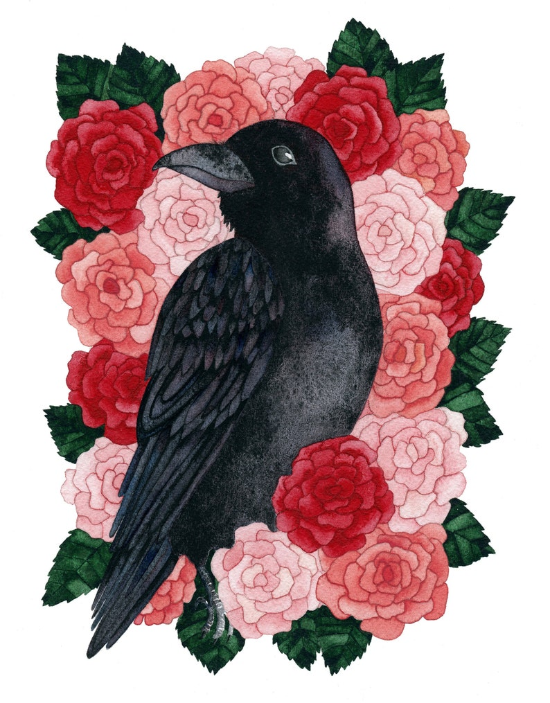 Raven Art of Crow Painting for tattoo art print