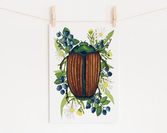 June Bug Insect Print of Original Watercolor Painting, Entomology Art
