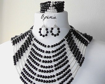 Monochrome Nigerian Beads Handmade Jewelry Set - Opemie
