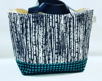 Green and Black Birch Tree tote