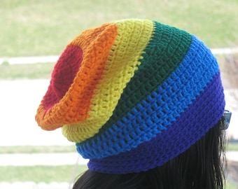 753e06176a7 Crochet Rainbow Slouchy Hat  Rainbow Beanie For Adult.