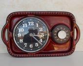 Ceramic wall clock, kitchen clock, kitchen timer, working clock, red brown clock, Dugena electric wall clock, unique clock, retro clock
