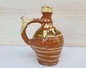 Small pitcher decor, brown ceramic decor, shabby kitchen decor, primitive decor, rustic decr, gift, gift idea, vintage, farm house decor 122