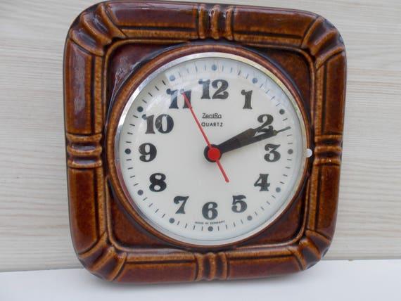 Genial Germany Ceramic Clock Retro Wall Clock Brown Ceramic Clock | Etsy