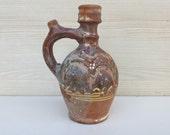 Small pitcher decor, brown ceramic decor, shabby kitchen decor, primitive decor, rustic decr, gift, gift idea, vintage, farm house decor 123