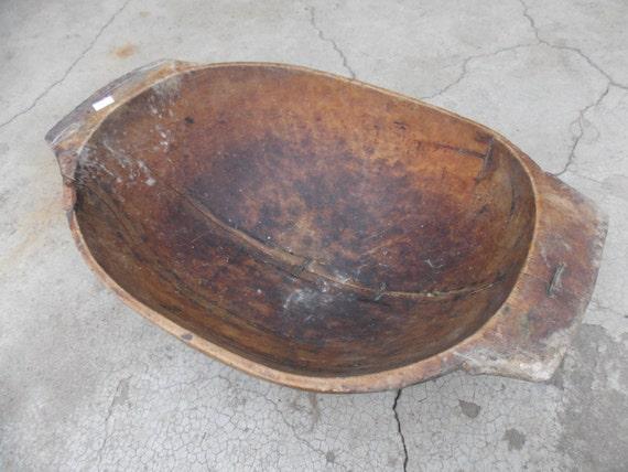 27 long Hand Carved Antique Primitive Wooden Dough Bowl Rustic Home Cottage Chic Antique Oval Natural Wood Dough Bowl