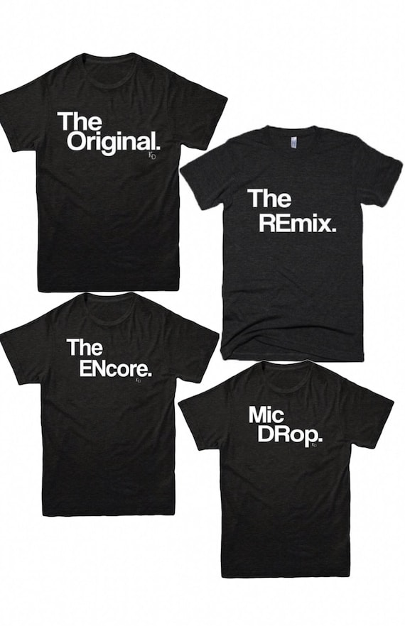 The Original /& The Remix Father Son Daughter Gift Pair of Black PREMIUM T-Shirts
