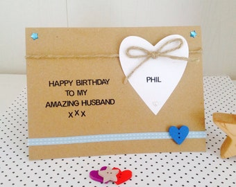 Personalised Amazing Husband Boyfriend Fiance Handmade Birthday Card