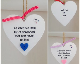 Personalised Sister Quote Heart Gift Plaque