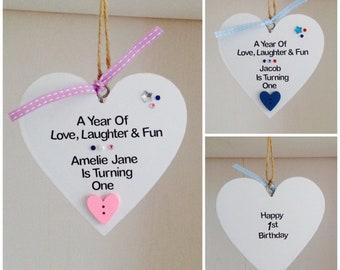 Personalised Handmade 1st Birthday Gift Plaque Son Daughter Granddaughter Grandson Niece Nephew Godson Goddaughter