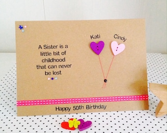Personalised Handmade Sister Quote Card