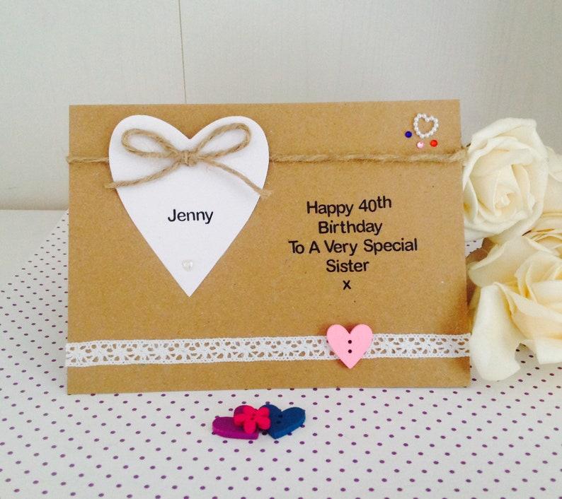 Personalised Handmade Luxury 40th Birthday Card Mum Sister Etsy