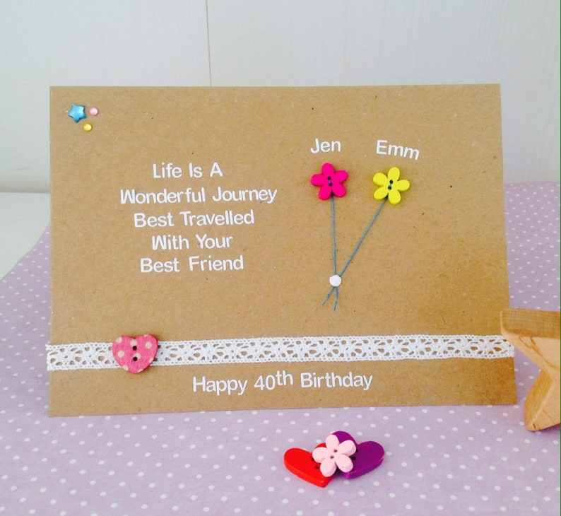 Personalised Best Friend Quote Card Handmade