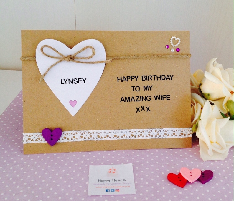 Personalised Amazing Wife Handmade Birthday Card