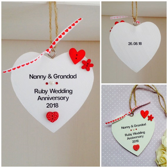 Personalised Ruby Wedding Anniversary Gift Plaque Etsy
