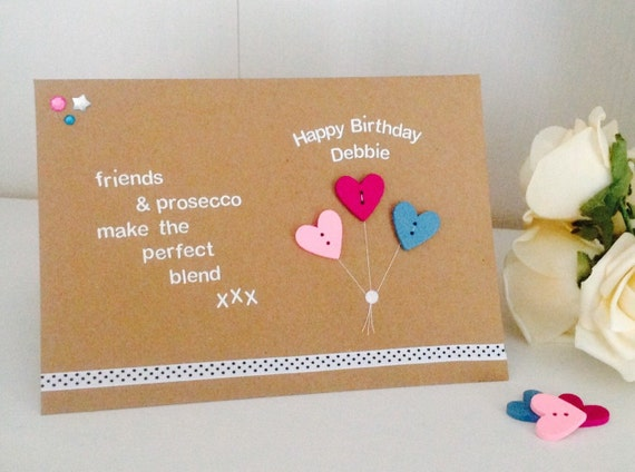 Friends Prosecco Quote Handmade Happy Birthday Card 18th Etsy
