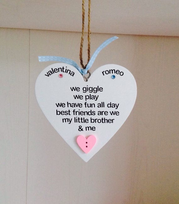 Little Brotherlittle Sister Poem Personalised Gift Plaque Etsy