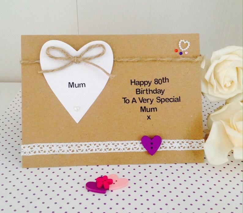 Personalised Handmade Luxury 80th Birthday Card Mum Nanna