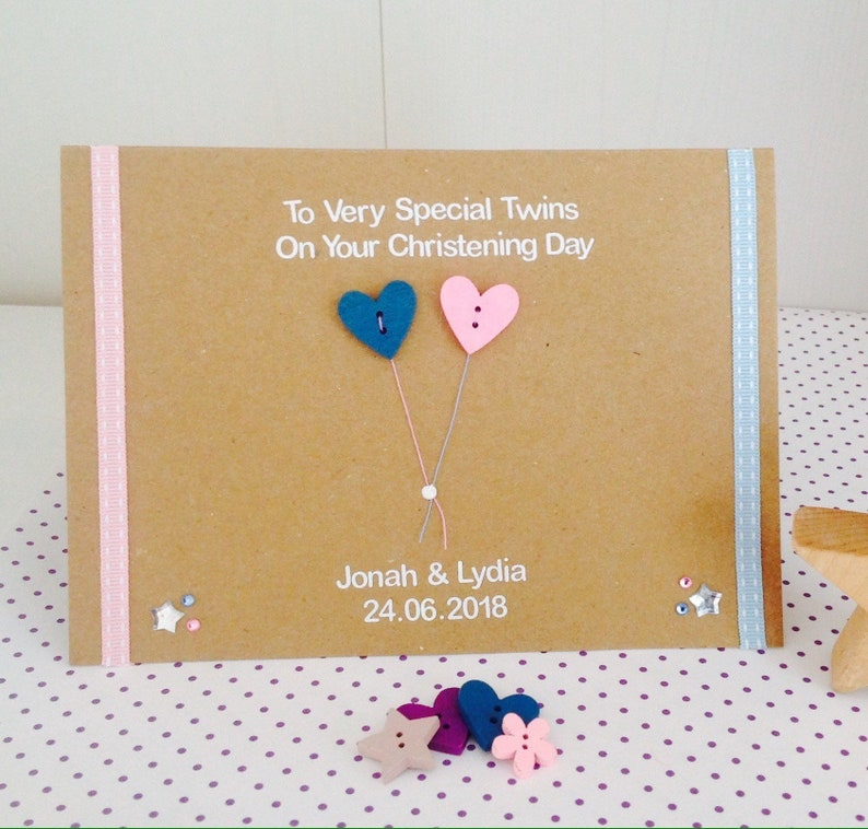 Baptism Card Personalised Handmade Christening Girl or Twins Boy