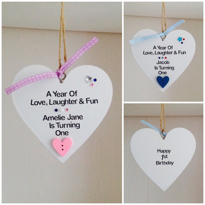 Personalised Handmade 1st Birthday Gift Plaque Son Daughter