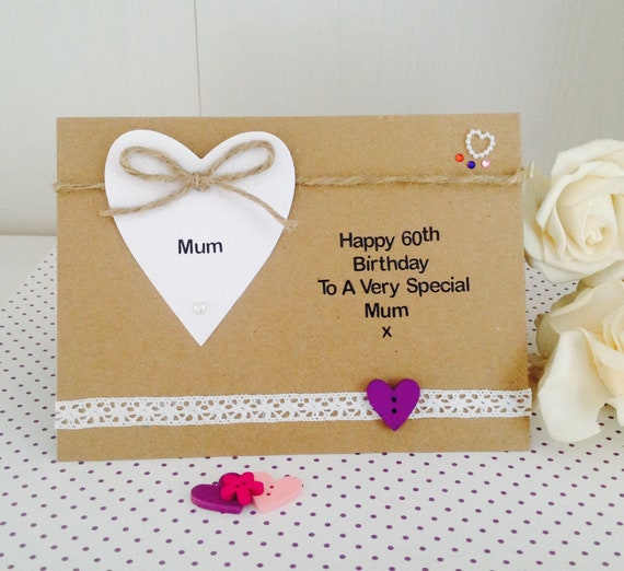 Personalised Handmade Luxury 60th Birthday Card Mum Auntie