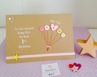 Personalised Birthday Cards - 1st 2nd 3rd 4th 5th Birthday Card - Daughter, Niece, Sister, Granddaughter Goddaughter Handmade Birthday Card