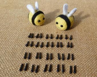20 pairs of toy eyes 3mm/ 4mm, or mixed eyes - dolls eyes - needle felting eyes - merino roving - mini toy eyes - amigurumi
