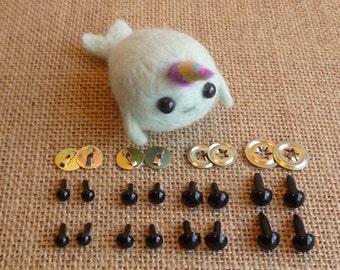 High quality multi use black toy safety eyes 5mm, 6mm, 7mm, 8mm or mixed - doll eyes - plastic animal eyes - kawaii - needle felting