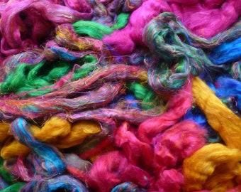 Sari silk waste sliver - mixed bag of colours - sari silk roving -silk roving -wet felting silk fibres - needle felting silk fibres -
