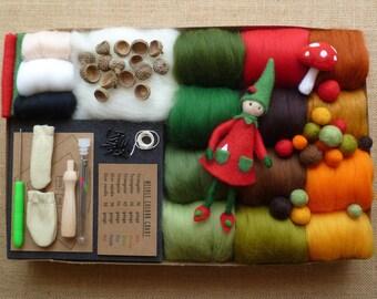 Needle felting kit -  WITH 3 tutorias!! needle felting tutorial  - Autumn felting kit - elf kit - fairy kit - toy eyes - felted balls