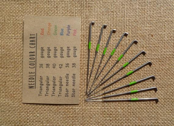 Set Of 10 Triangular Felting Needles Rainbow Color Coded 36 Etsy
