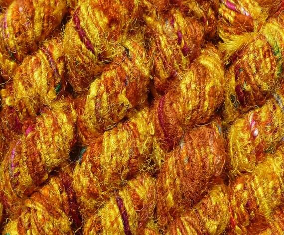 Multi-mix sari silk yarn - recycled sari silk yarn - yellow/gold  multicolored silk yarn - sari silk waste yarn - silk yarn