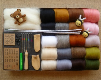 Needle felting kit - NOW with up to 3 tutorial!! - animal needle felting kit - felting needles - starter kit - toy eyes -merino wool roving