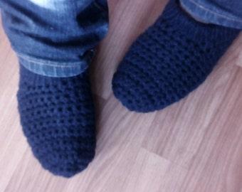 Dark Blue Men's Knitted Slippers, Wool Men's Slipper Socks, Men's House Shoes, Crochet Men's Slippers, Men's Indoor Socks, Chunky Slippers