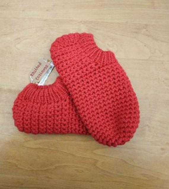 Reine Wolle Rot Damen Häkeln Hausschuhe Warme Frauen Mädchen Etsy