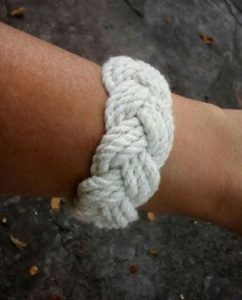 528cbed59d3a2 Turks Head Bracelet Woven White Cotton Bracelet Thick Wrap Bracelet  Nautical Bracelet Friendship Rope Bracelet Sailor Knot Bracelet 3 Strand