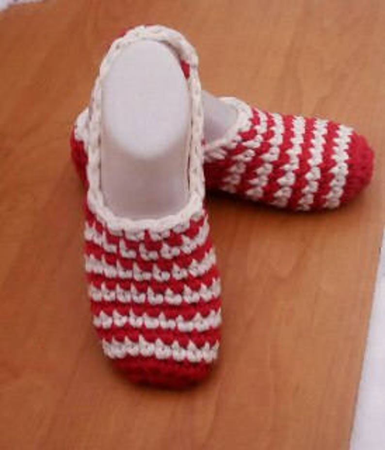 8aec85d7950a8 Striped Red White Women's Crochet Slippers, Warm Crochet Slippers Sock,  Christmas Slippers, Cozy Crochet Slippers, Winter Soft Home Slippers