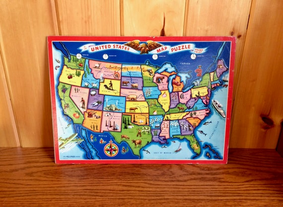 United States Map Puzzle EE Fairchild Corp All Fair Toys & | Etsy