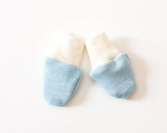 4e18a1a4b Newborn Pure Merino Wool Baby Scratch Mitts - Light Blue with Ivory Trim /  One Size / No Scratch Hand Covers / Baby Boy Mitts