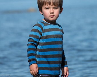 Pure Merino Wool Shirt Long Sleeved - Blue and Charcoal Stripes / Kid Toddler Child Base Layer