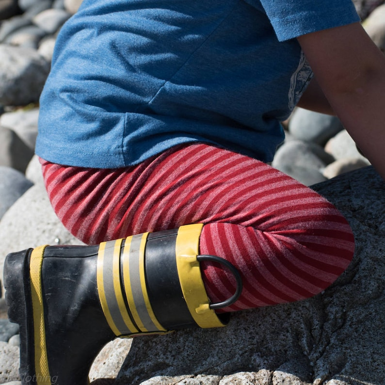 Red Stripes  Yoga style Waist  Baby Wool Leggings   Kids wool Leggings 0-3m Merino Wool Leggings for Kids SALE 3-9m