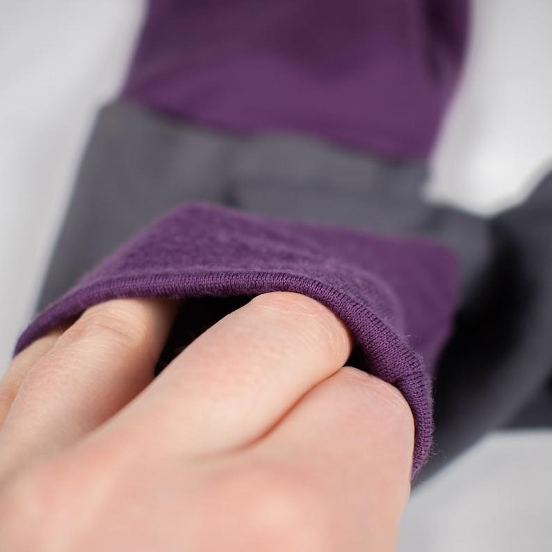 Varying Grey with Purple  Grow With Me Leggings  Merino Wool Baby  Gender Neutral Heavy Weight Merino Wool Adjustable Leggings