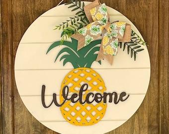 Purple Pineapple Monogram Door Hanger Tropical Pineapple Decor Bright Purple Turquoise Pineapple Welcome Decor Pineapple Door Hanger