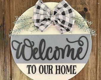 Front Door Decor, Welcome Door Hanger, Front Door Welcome Sign, Shiplap Sign, Front Door Sign, Welcome Sign, Front Door Wood Sign