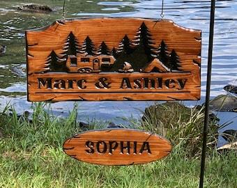 Engraved Camper Sign/ Personalized Camper Sign/ Camper Sign/ Campground Sign/ RV Sign