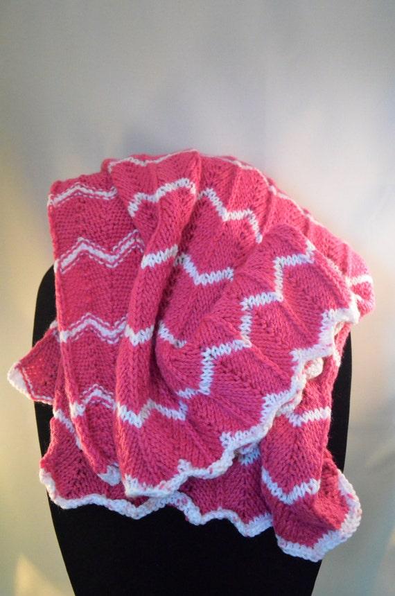 Dark Pink & White Knitted Chevron Baby Blanket