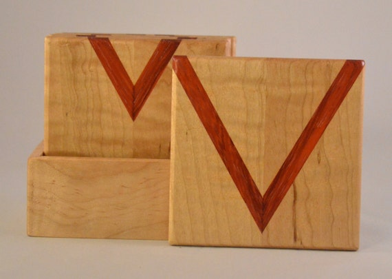 Maple and Bloodwood Coaster Set with Holder