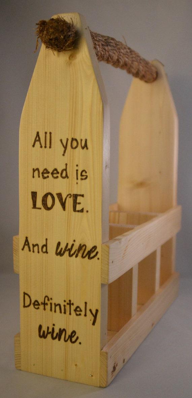 """Wine Caddy - 3 Bottle - """"Love & Wine"""""""