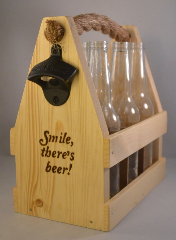 "Beer Caddy - ""Smile - there's Beer"" (made to order)"