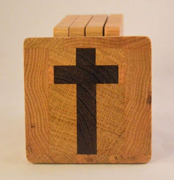 Oak Coasters with Imbedded Wenge Cross (MC006b)